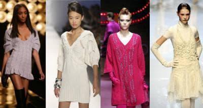 Элегантные модели вязаных платьев