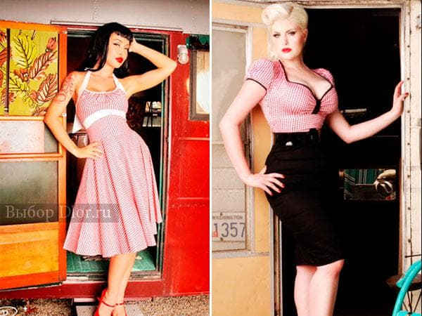 Розовый сарафан в стиле стиляг и черно-розовое платье в обтяжку