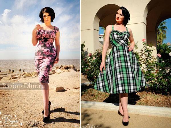 Платье в клеточку и платье в обтяжку с розовыми цветами