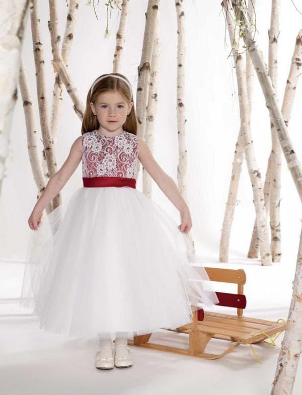 Белое с красным патье для девочки на свадьбу