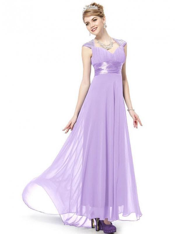 Лиловое платье в пол А силуэта