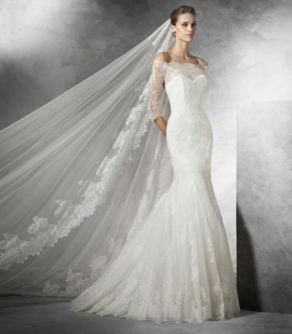 Свадебное платье рыбка с кружевом
