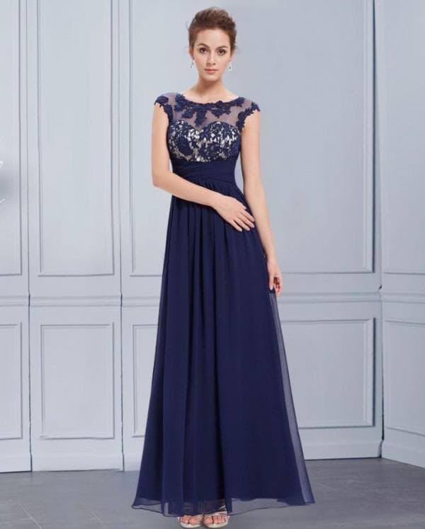 Вечернее платье в пол темно синего цвета
