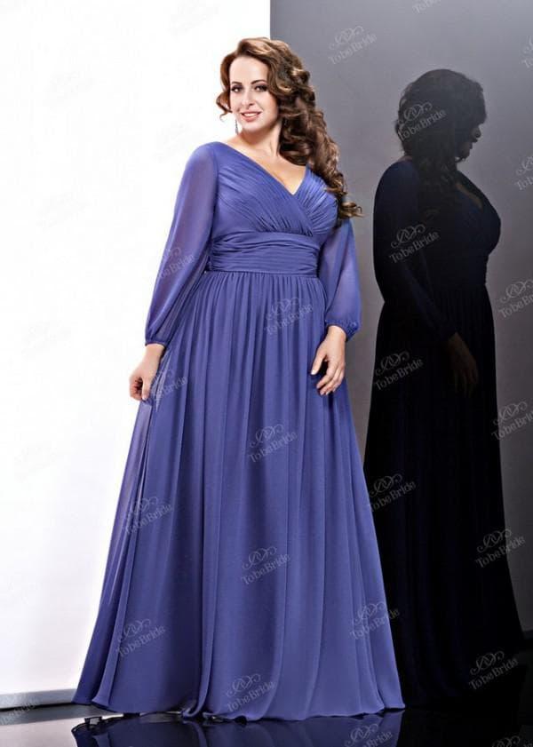 Синее длинное вечернее платье для полной женщины