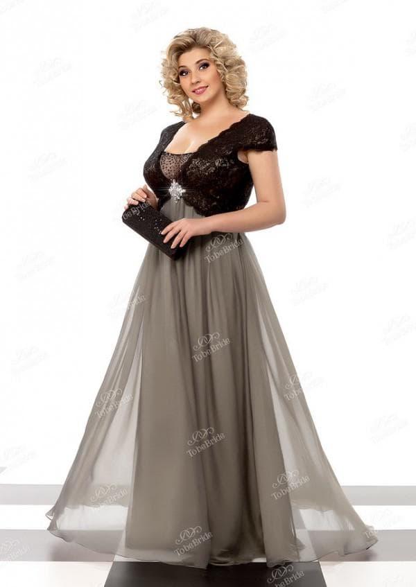 Вечернее платье в пол большого размера с шифоновой юбкой