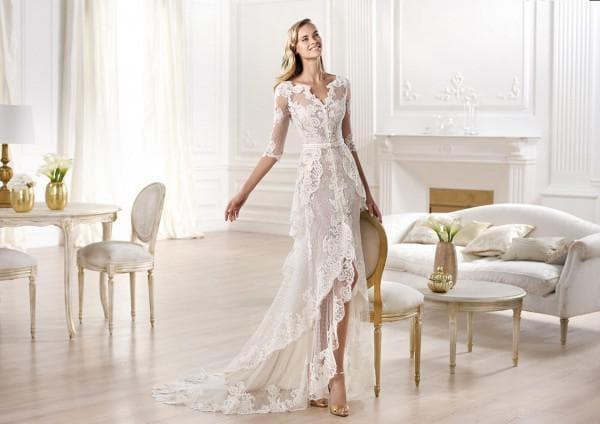 Прозрачное кружевное платье в пол для невест