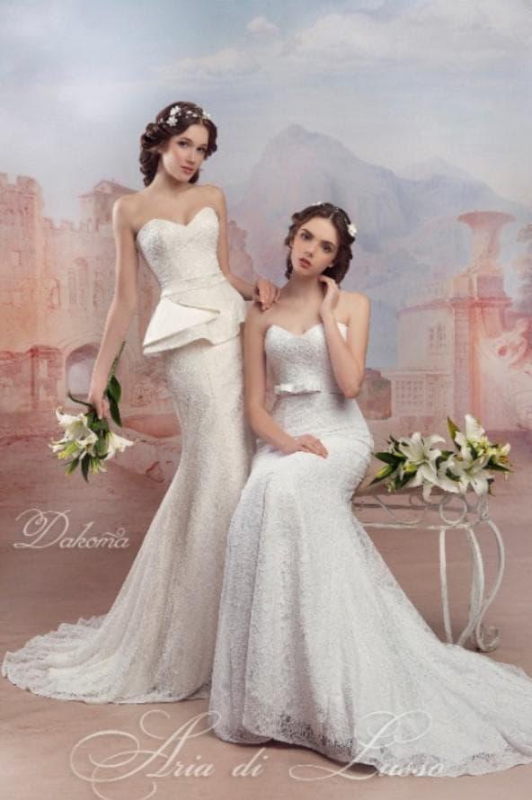 Свадебное платье русалка с баской