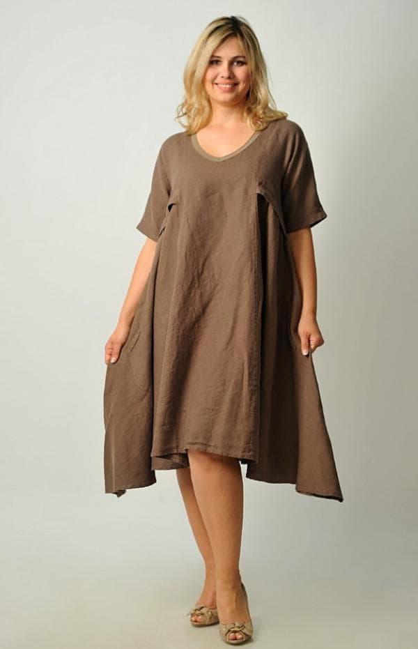 Льняное платье большого размера с асимметричной юбкой