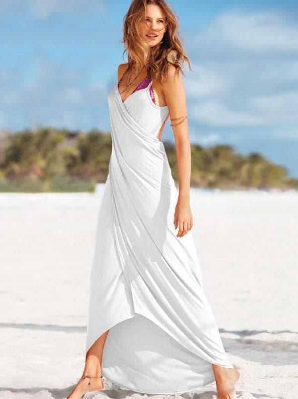 Белое пляжное платье