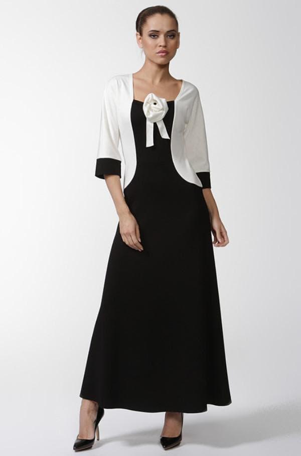 Длинное платье белый ыерх черный низ