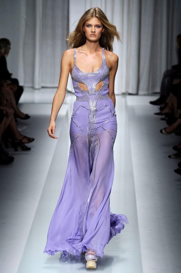 Лиловое платье в пол от кутюр