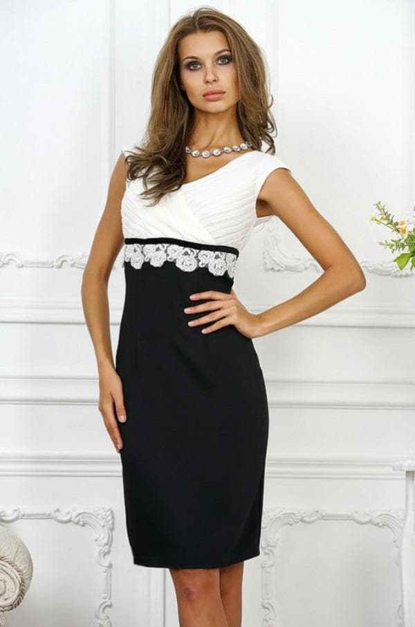 Красивое платье белый верх чёрный низ
