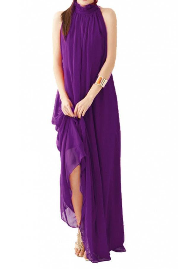 Летнее фиолетовое платье в пол