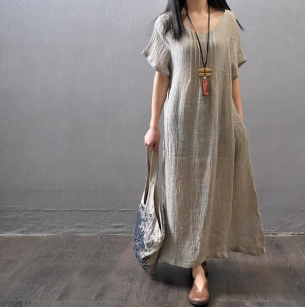 Повседневное платье изо льна для полной девушки