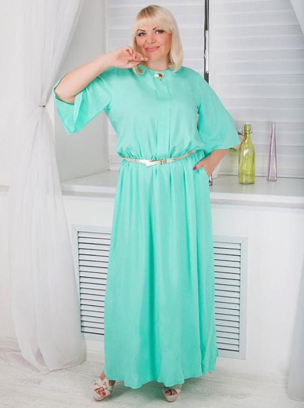Длинное вечернее платье мятного цвета для полных
