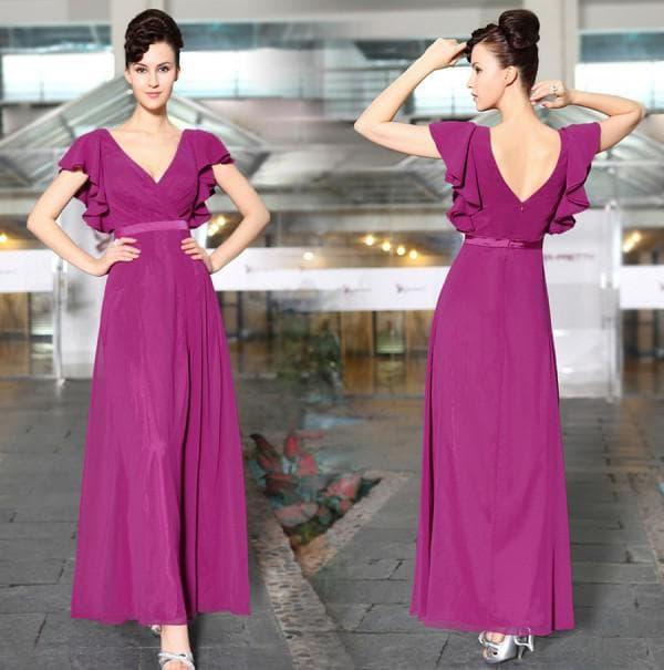Офисное фиолетовое платье в пол