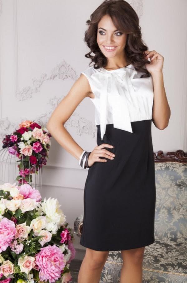 Платье с галстуком белый верх чёрный низ