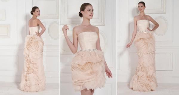 Персиковое платье невесты с накладной юбкой