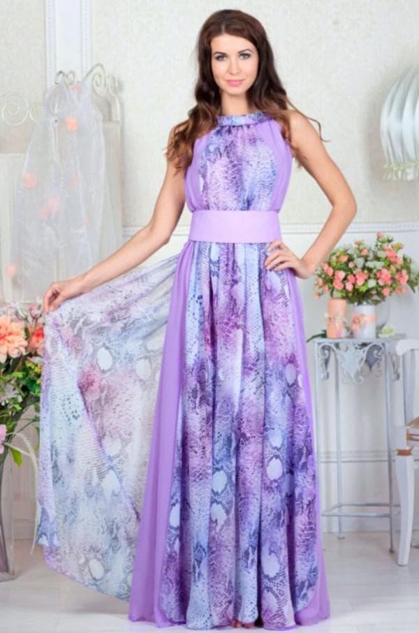 Фиолетовое платьев пол из шифона