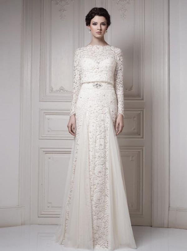Свадебное кружевное платье прямого кроя