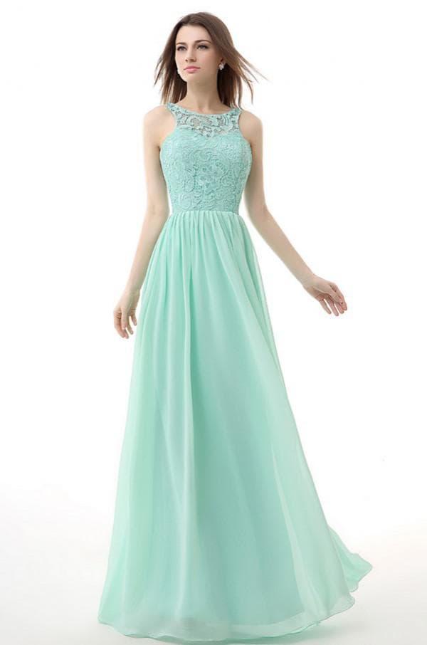 Длинное платье с кружевом цвет тиффани