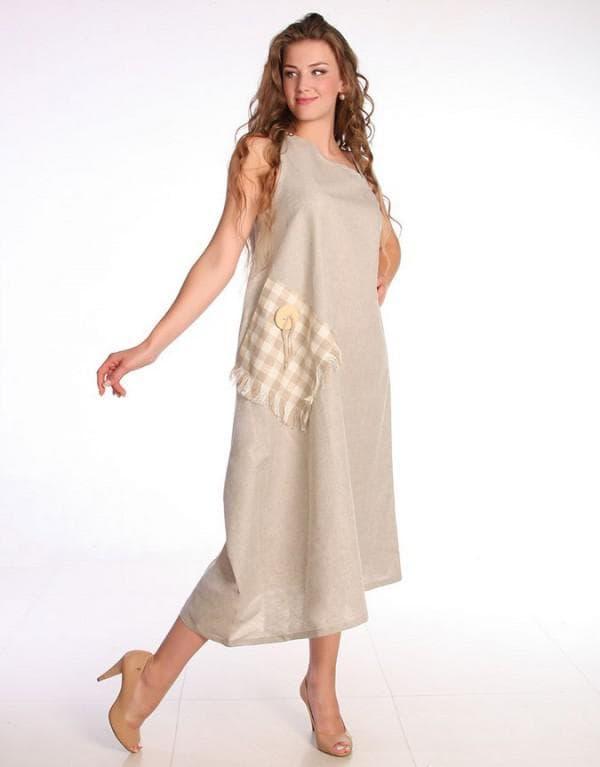 Льняной сарафан для полных женщин