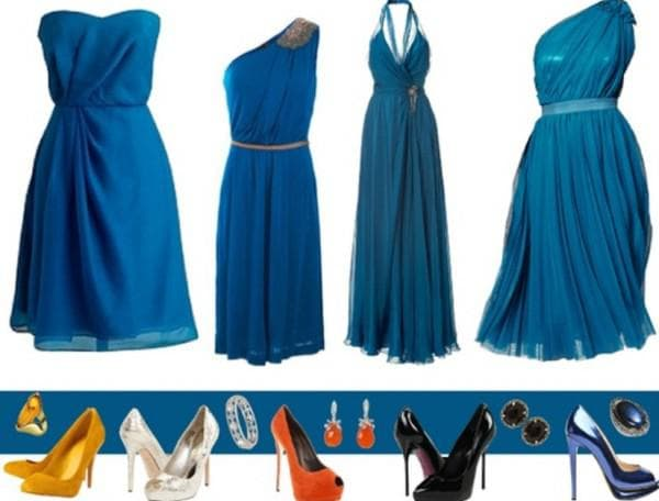 Туфли какого цвета подходят под синие платья