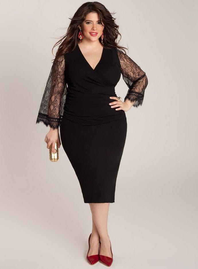 Черное платье миди для полной женщины