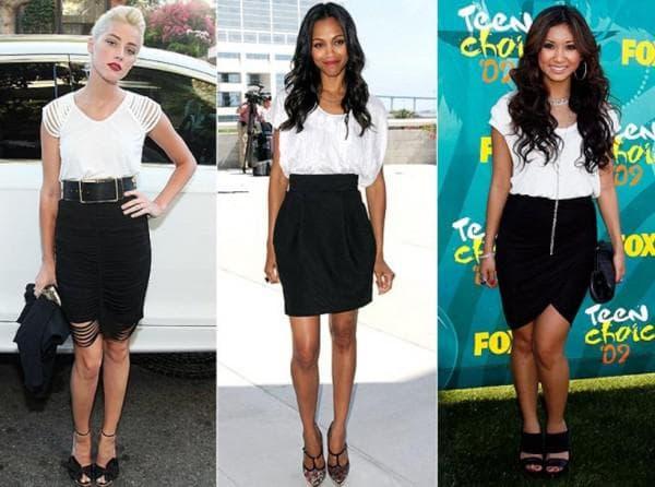 Черно белые платье на звездах