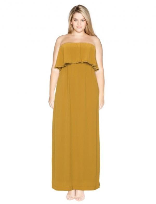 Платье для пышных дам горчичного цвета