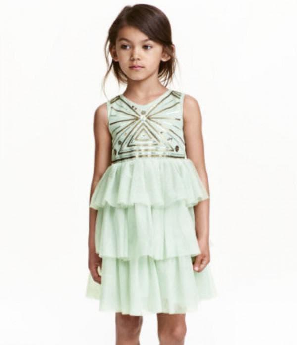 Мятное нарядное платье для девочки