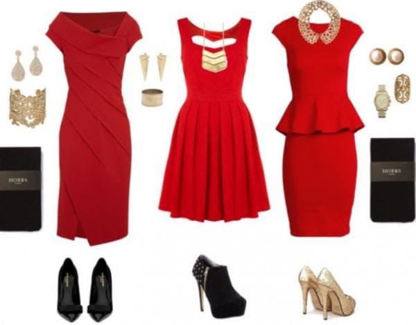 Красные платья туфли и аксессуары