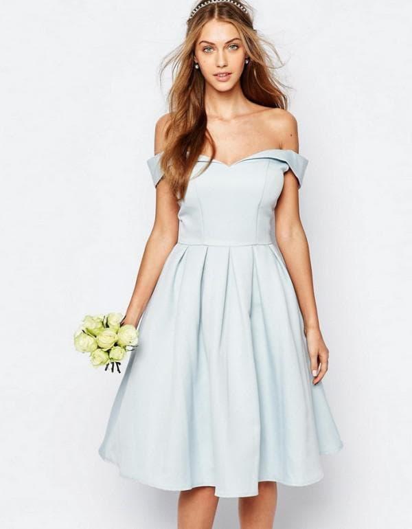 Свадебное платье миди с расклешенной юбкой