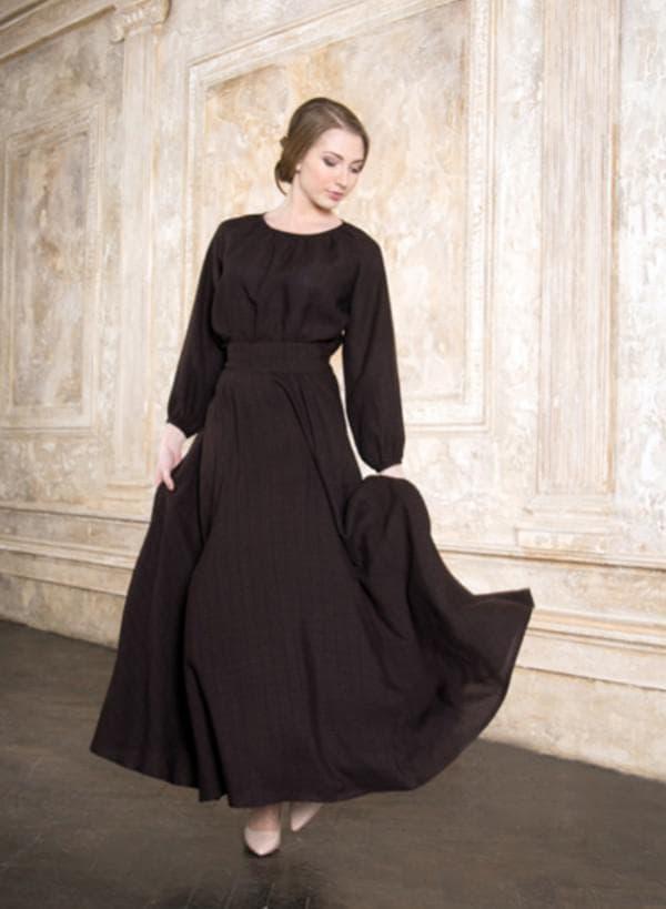 Православное платье в пол с рукавами