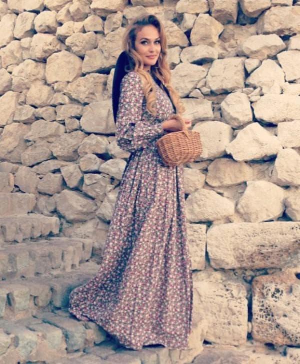 Длинное платье в стиле прованс