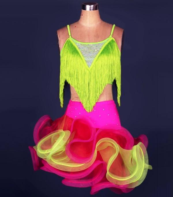 Цветное платье для детских танцев латино
