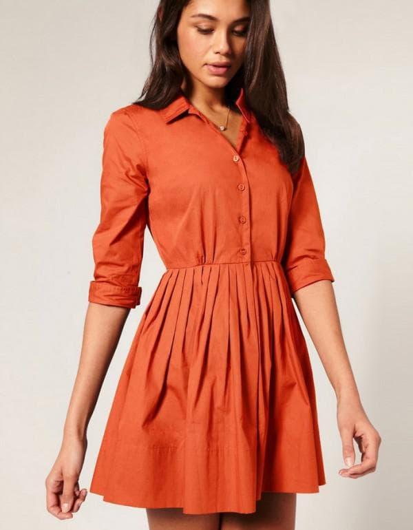 Оранжевое платье рубашка