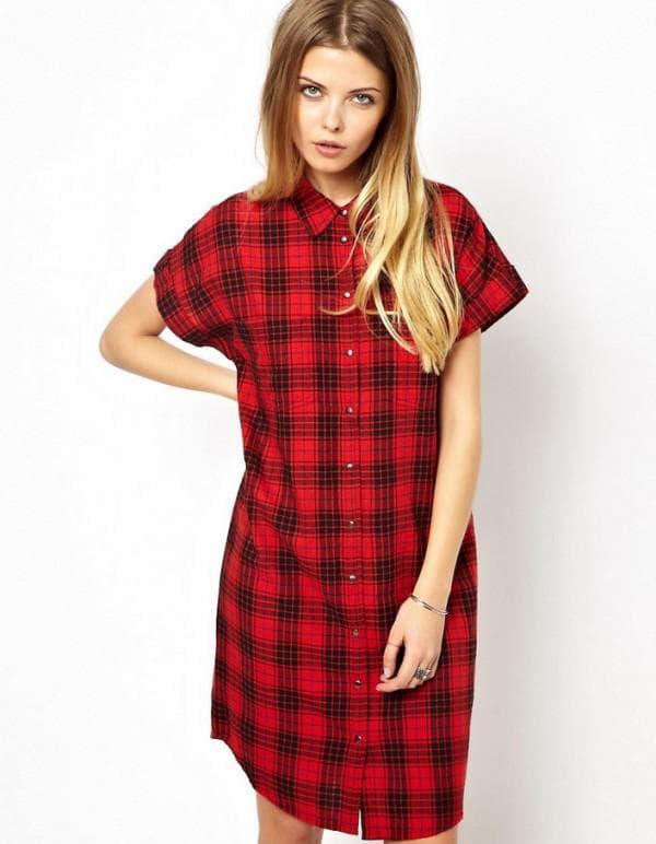 Красное платье рубашка в клетку
