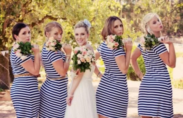 Полосатые платья для подружек невесты на свадьбу