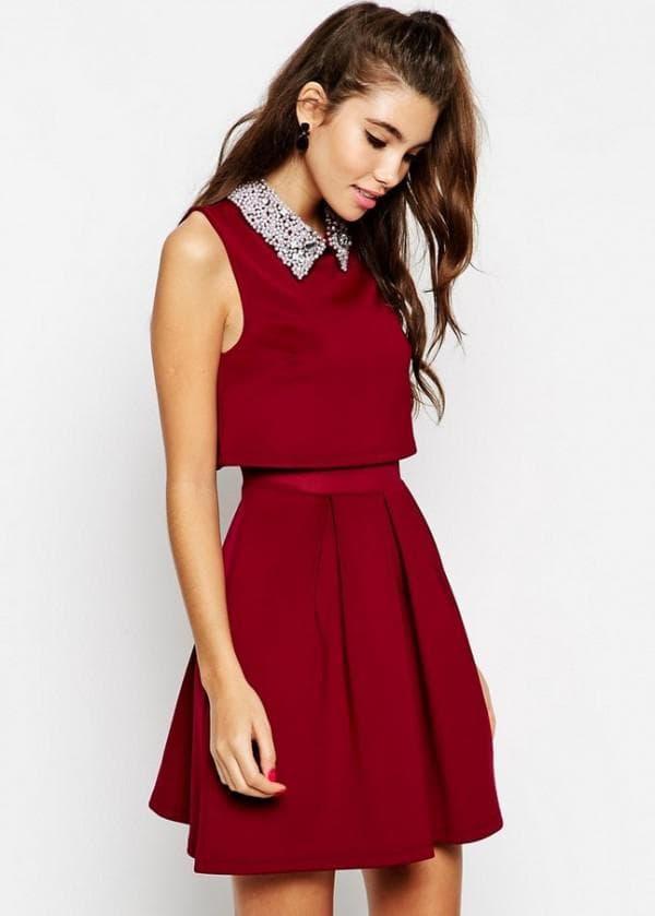 Повседневное платье цвета марсала