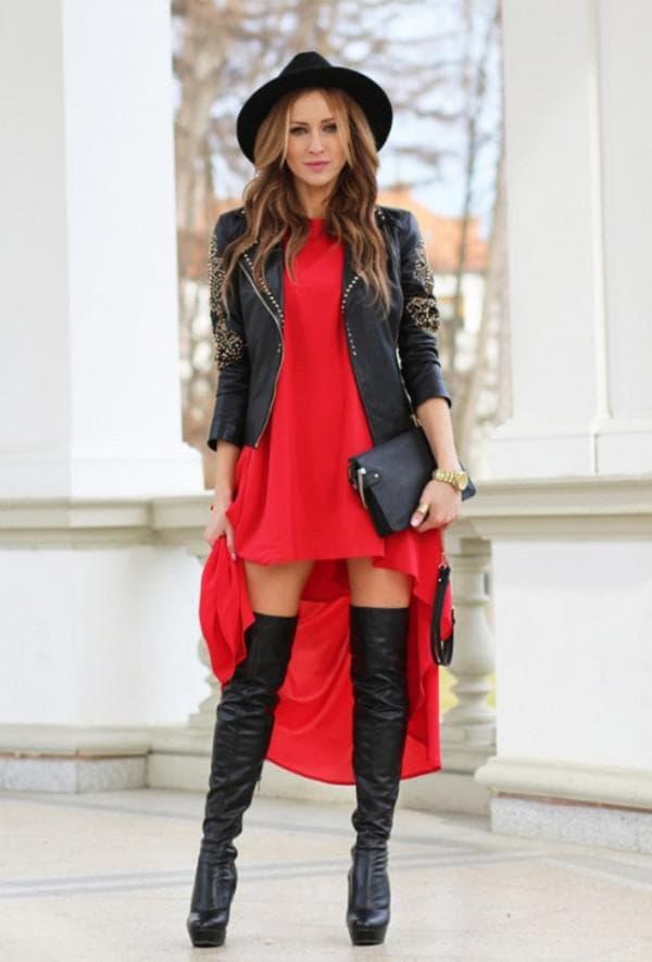 Гламурный повседневный образ с красным платьем