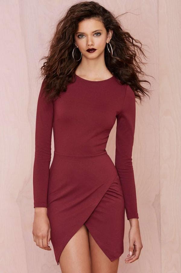 Платье цвета марсала для вечеринок