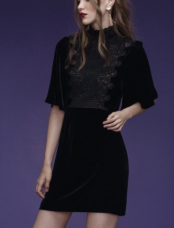 Черное осеннее платье мини