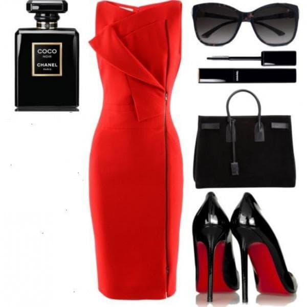 Красое платье футляр с чем носить