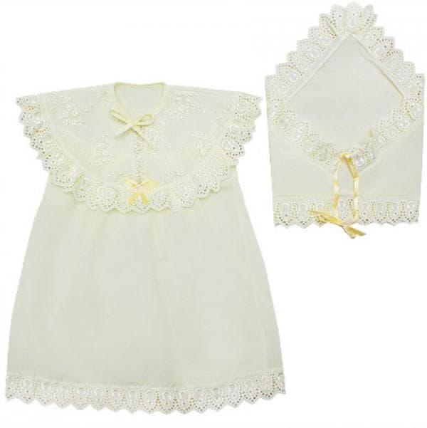 Крестильное платье цвета айвори