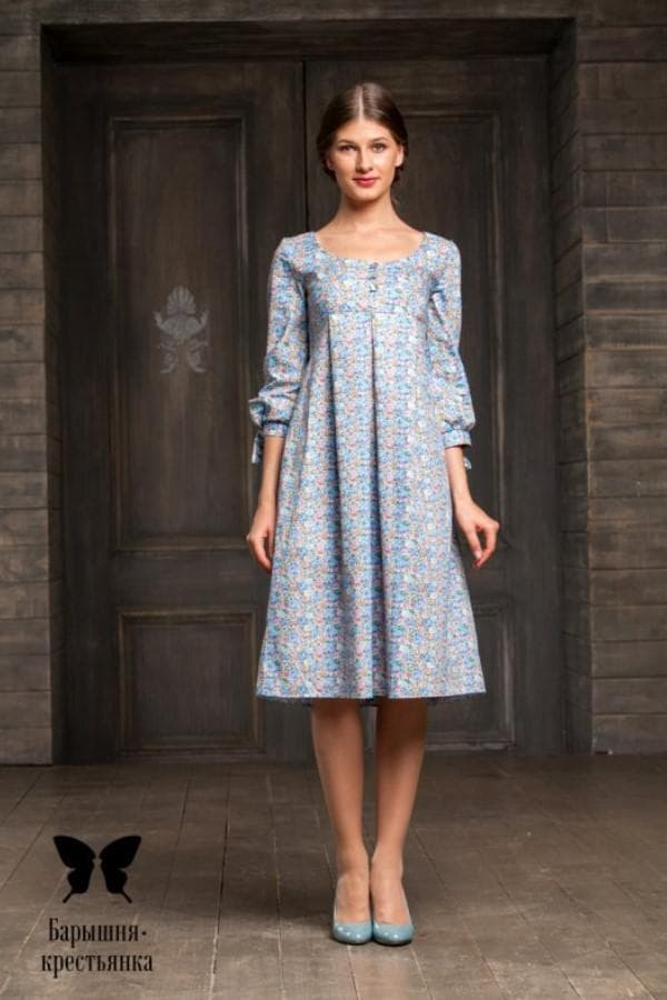Платье барышня крестьянка длины миди