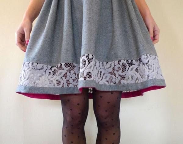 Как удлинить теплую юбку кружевом