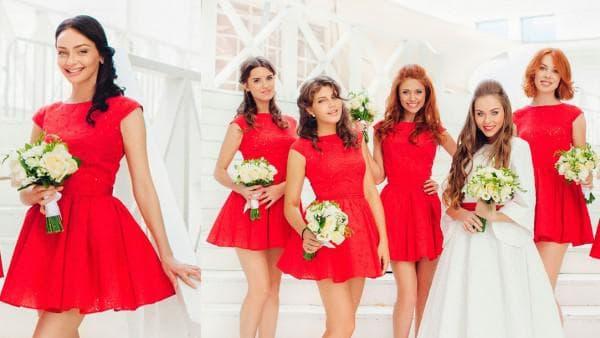 Красные мини платья для подружек невесты