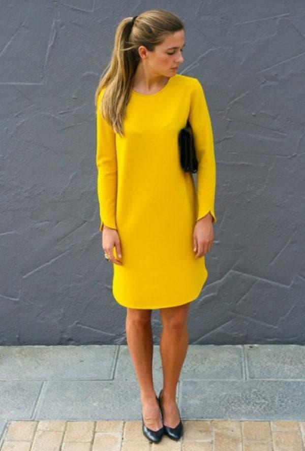 Желтое платье с чем носить в офис