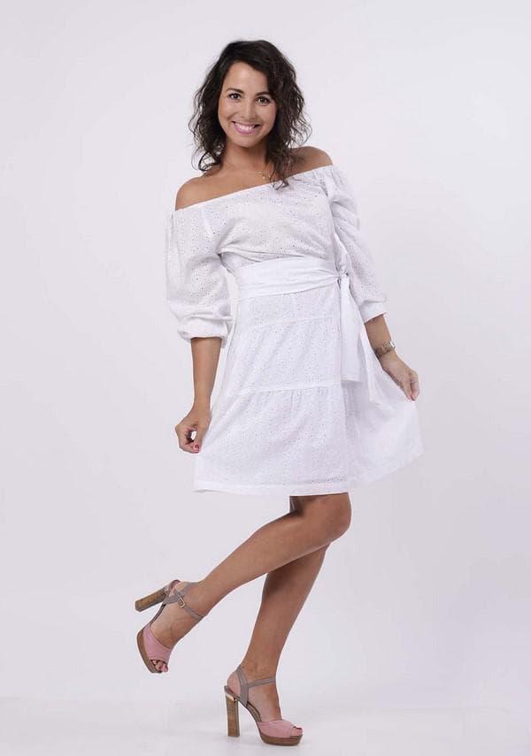 Белое мини платье барышня крестьянка